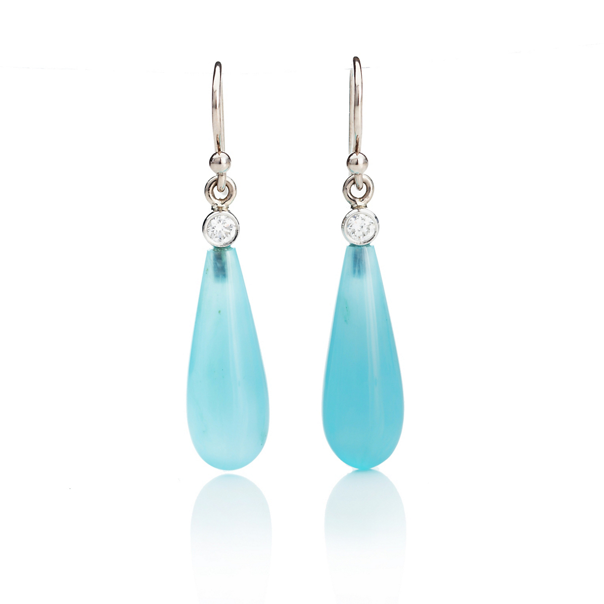 Gump's Blue Opal Slender Drop & Diamond Earrings