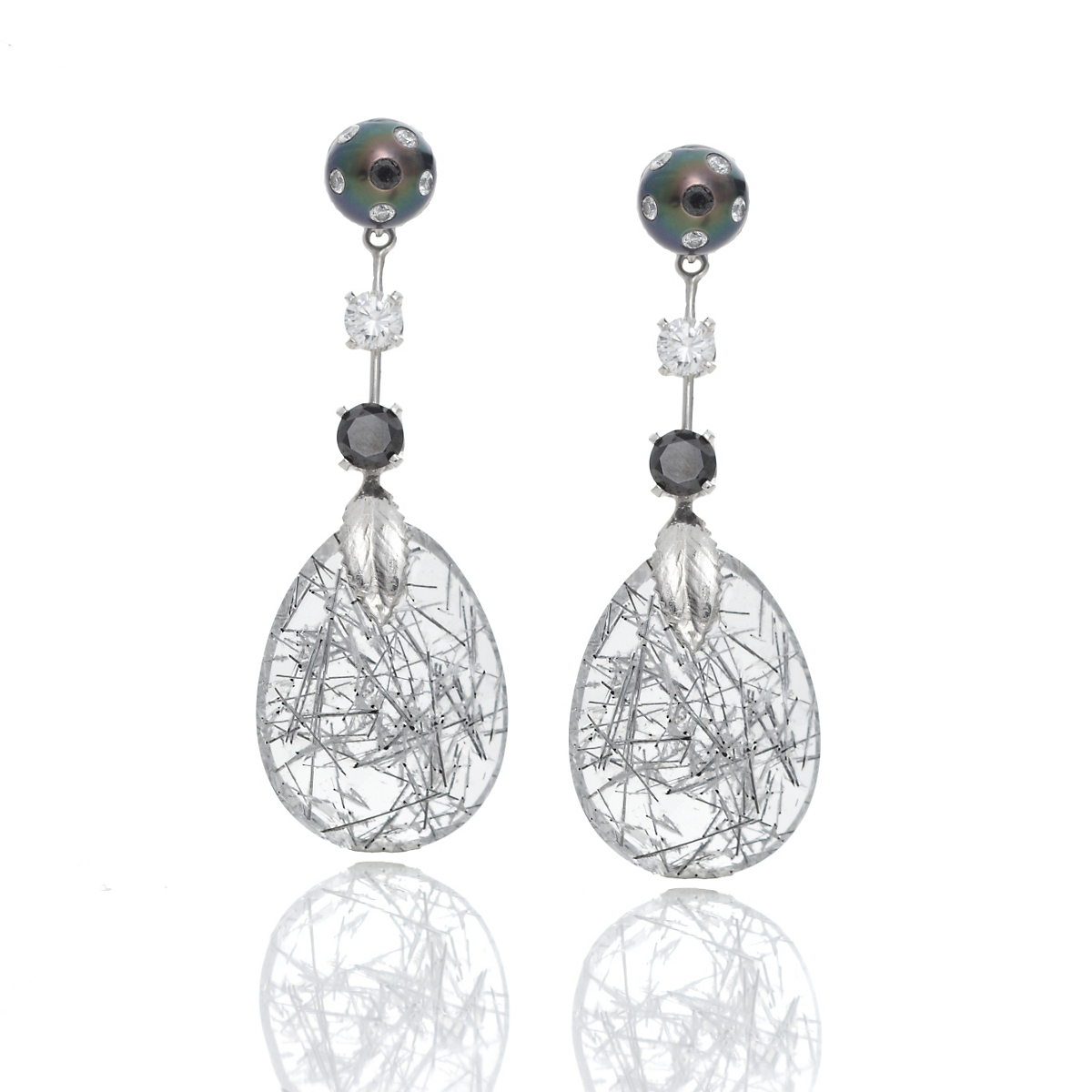 Russell Trusso Black & White Diamond Earrings