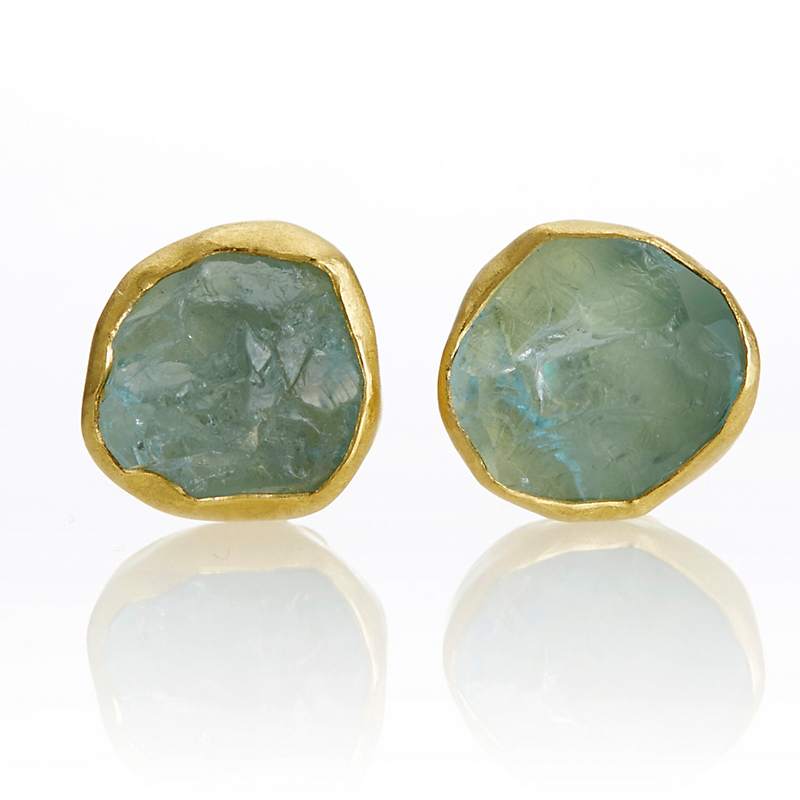 Petra Class Rough Cut Aquamarine Stud Earrings