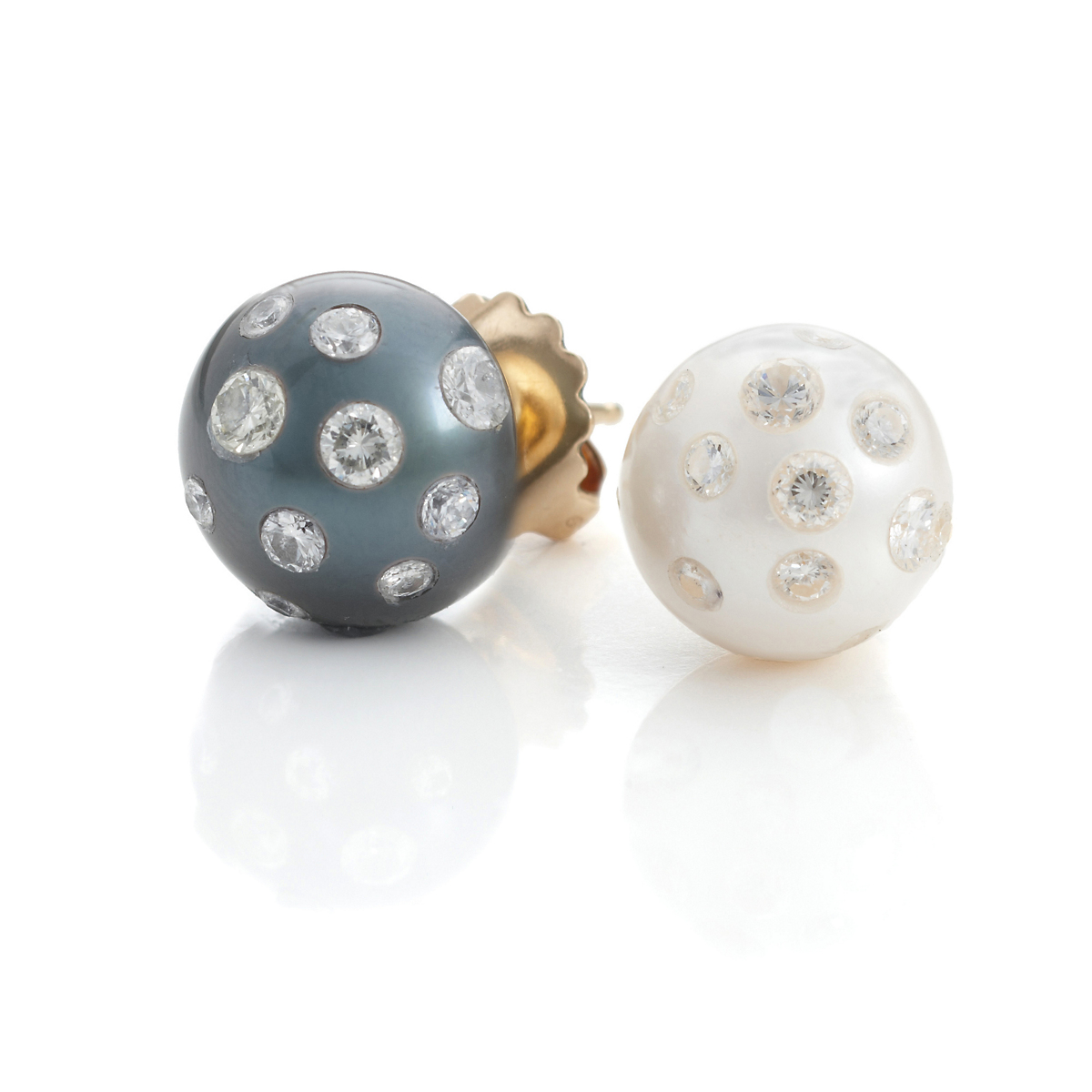 Russell Trusso Day & Night Pearl Diamond Earrings
