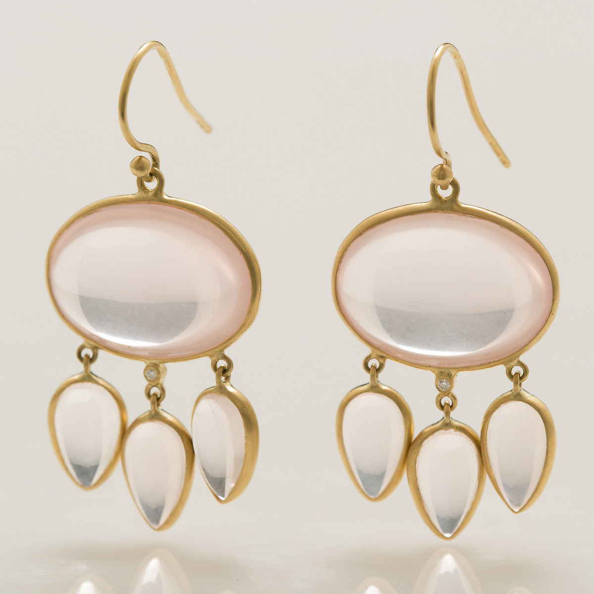 Kothari Rose Quartz Cabochon & Teardrop Earrings