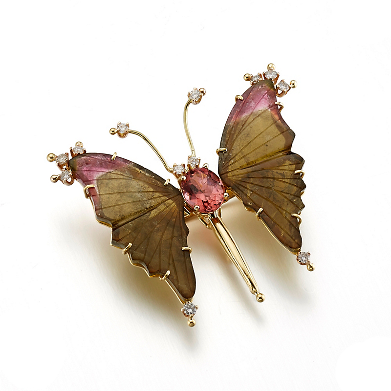 Russell Trusso Watermelon Tourmaline & Diamond Butterfly Brooch