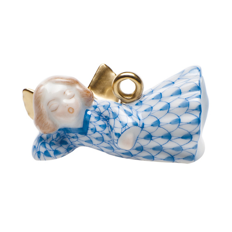 Herend Sleeping Angel Christmas Ornament, Blue