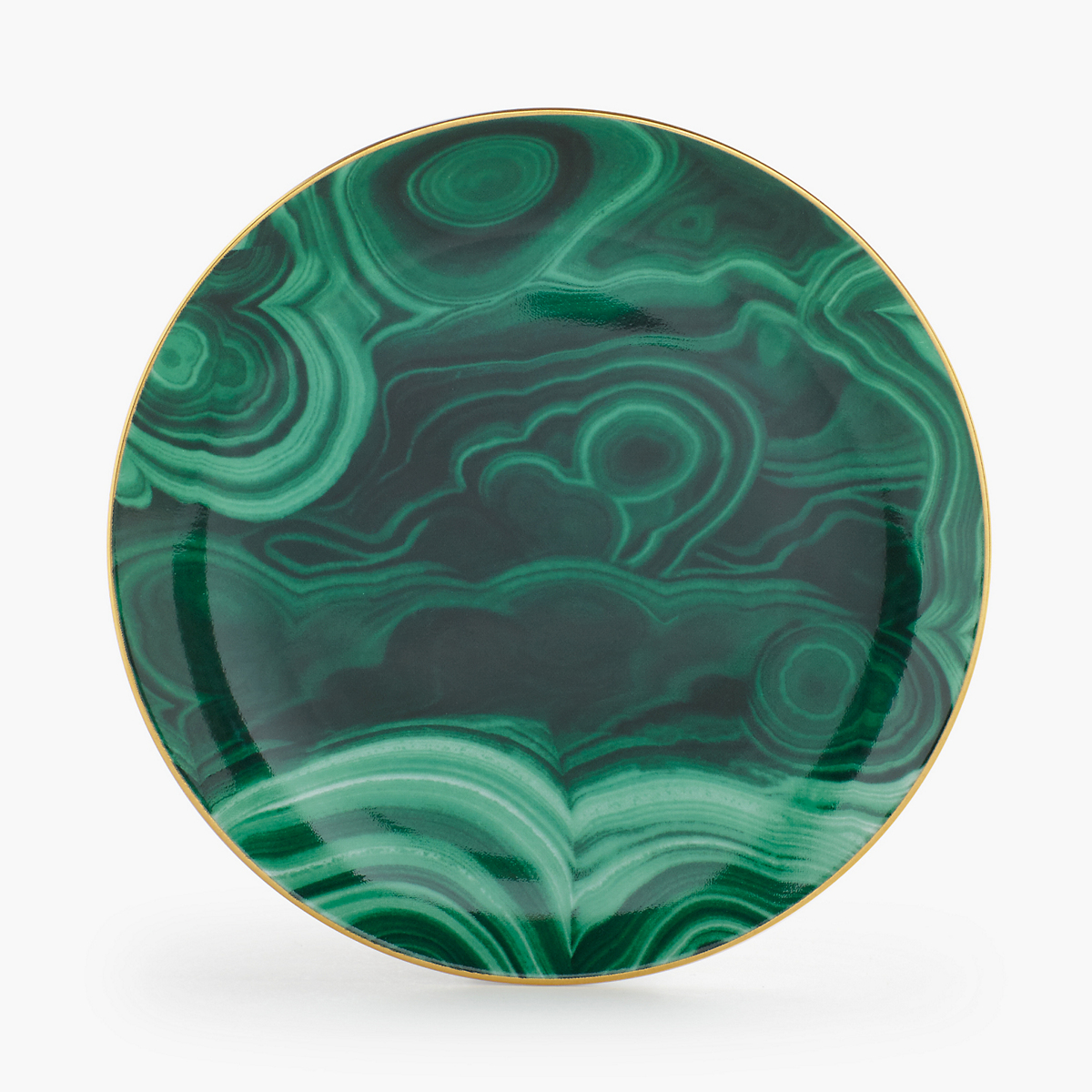 L'Objet Malachite Canape Plates, Set of 4