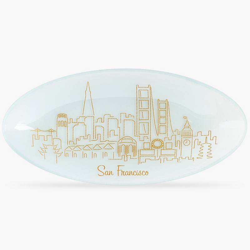 Annieglass San Francisco Skyline Oval Tray
