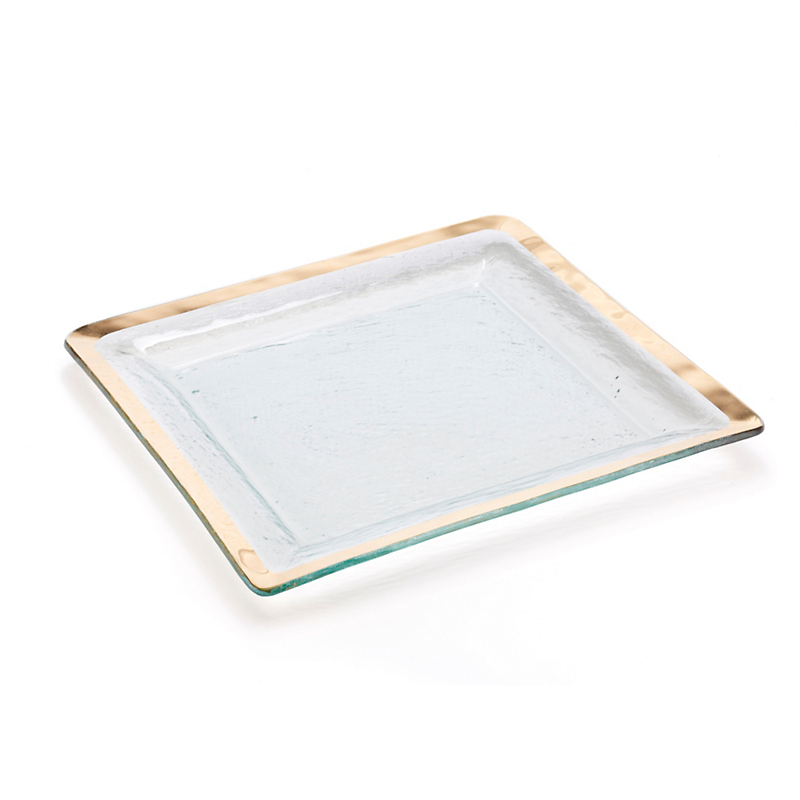 Annieglass Roman Antique Square Tray, Gold