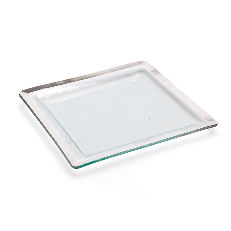 Annieglass Roman Antique Square Tray, Platinum