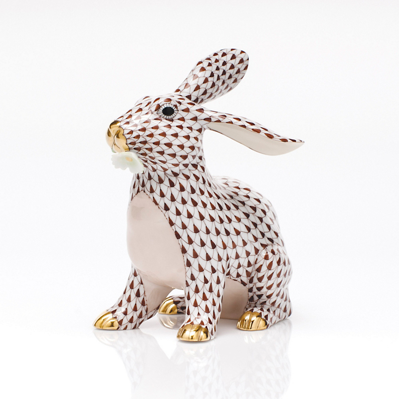 Herend Bunny with Daisy, Chocolate