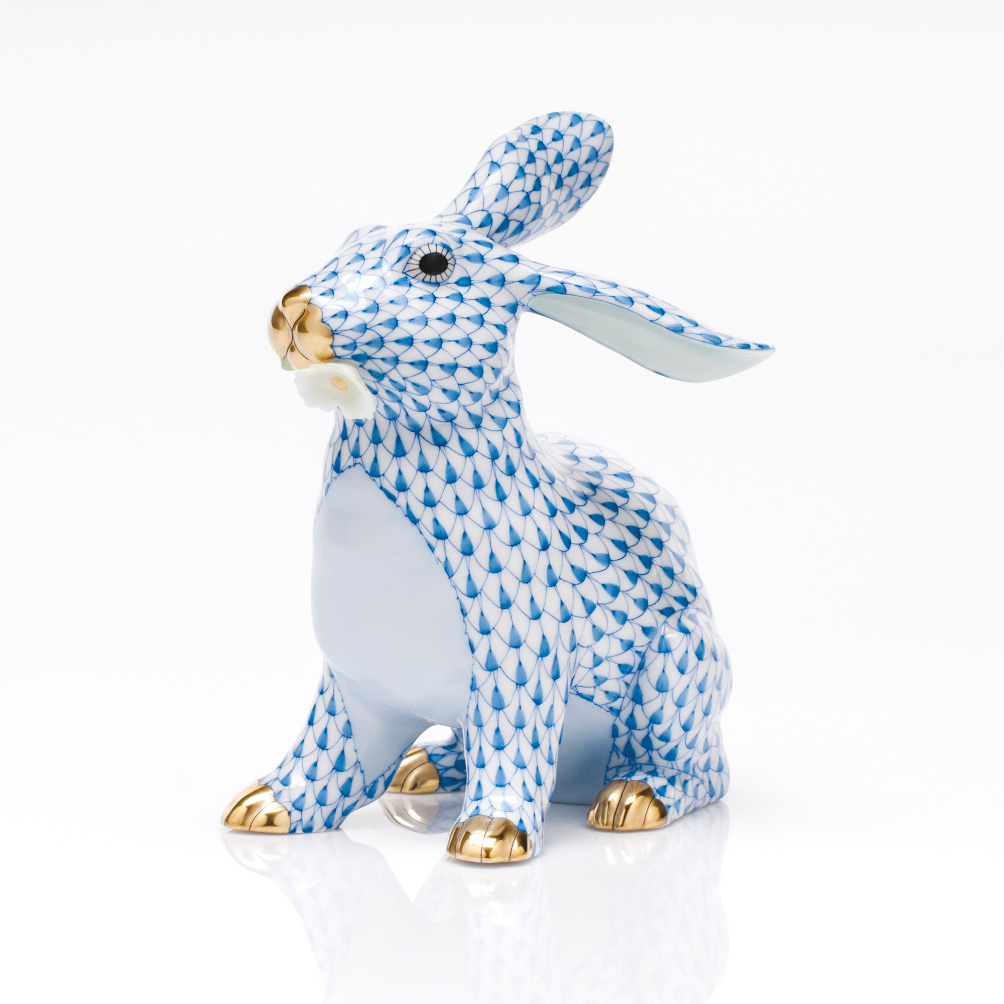 Herend Bunny with Daisy, Blue