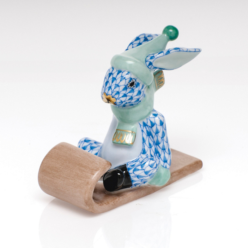 Herend Sledding Bunny, Blue