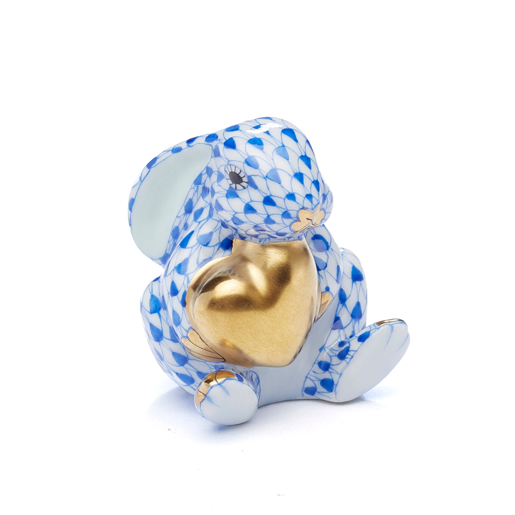 Herend Bunny with Heart, Sapphire Blue