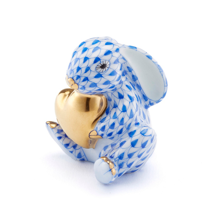 Herend Bunny with Heart, Blue