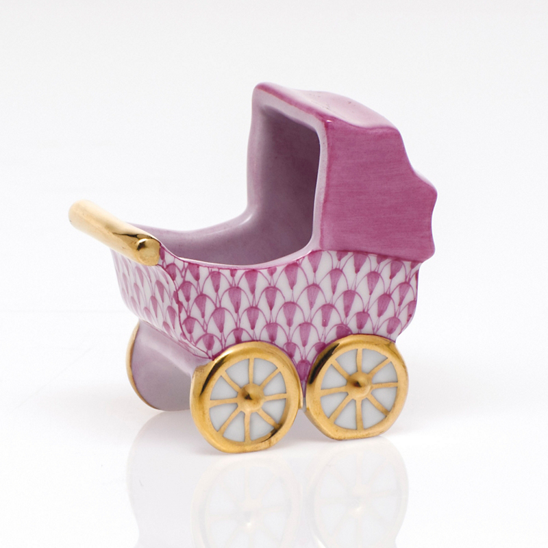 Herend Baby Carriage, Raspberry