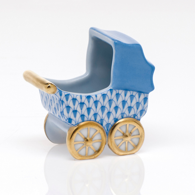 Herend Baby Carriage, Blue