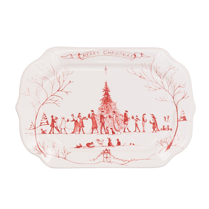 Juliska Country Estate Merry Christmas Tray, Ruby