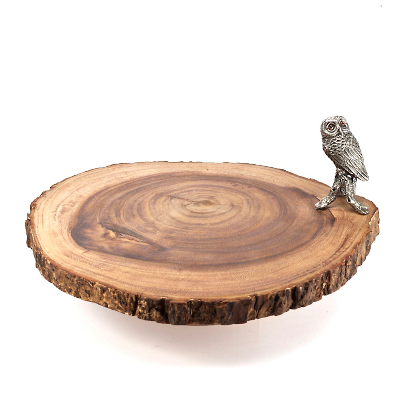 Owl Wood Pedestal Server