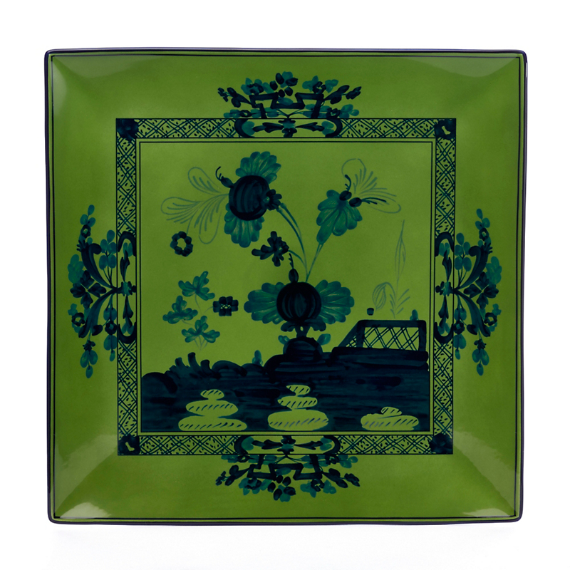 Richard Ginori Oriente Italiano Flat Plate Square, Malachite