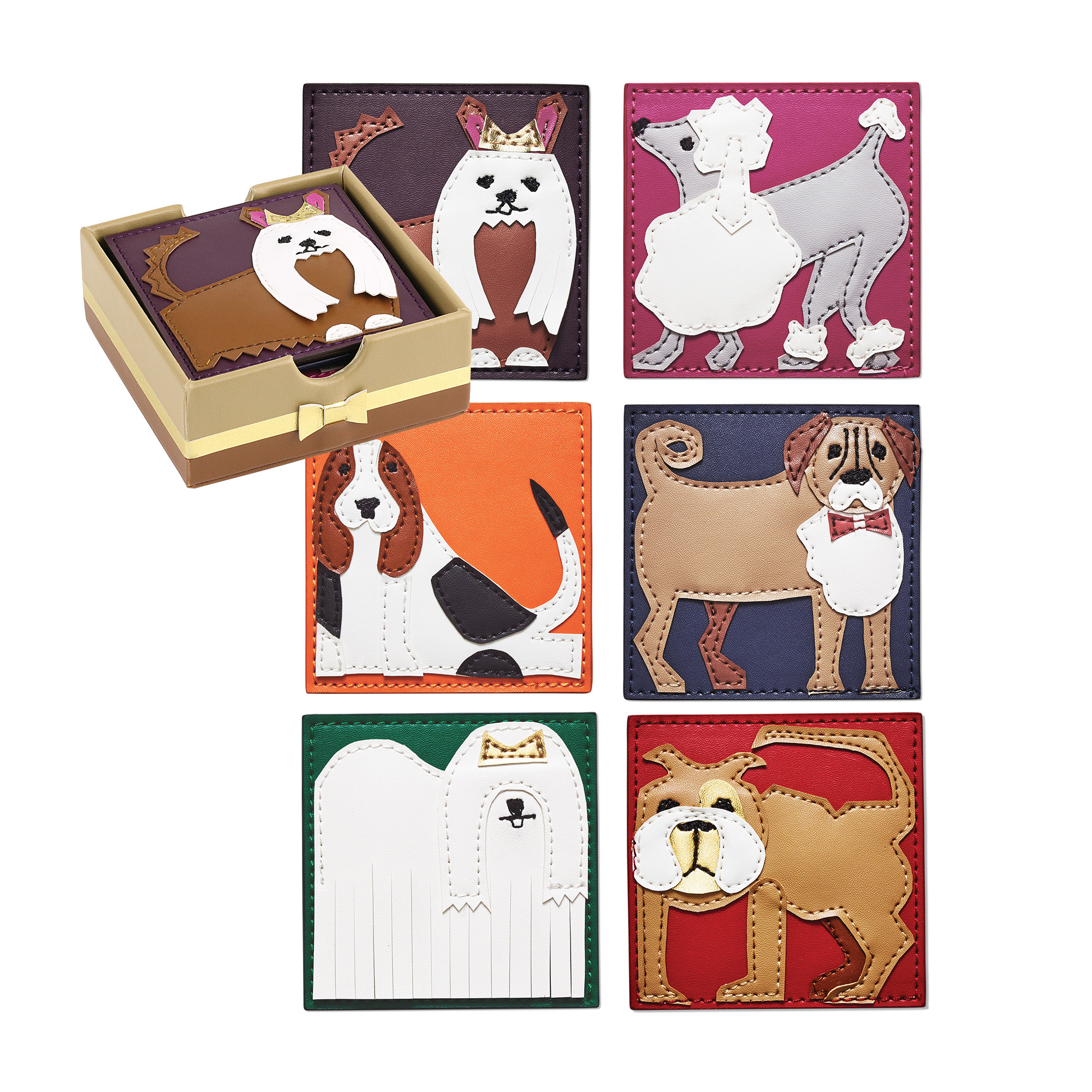 Kim Seybert Puppy Coasters, Set of 6