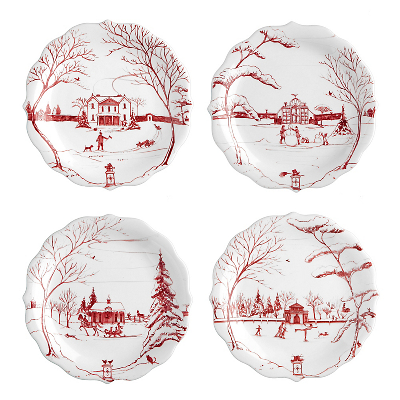 Juliska Country Estate Party Plates, Ruby Set Of 4
