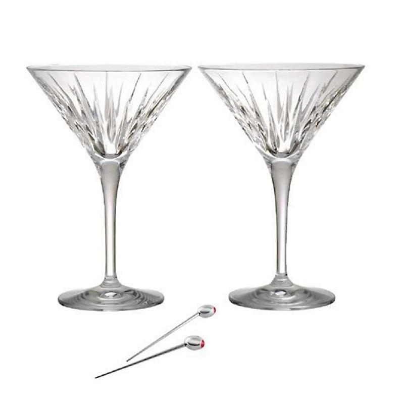 Reed & Barton Soho Martini Glasses with Olive Picks, Set of 2