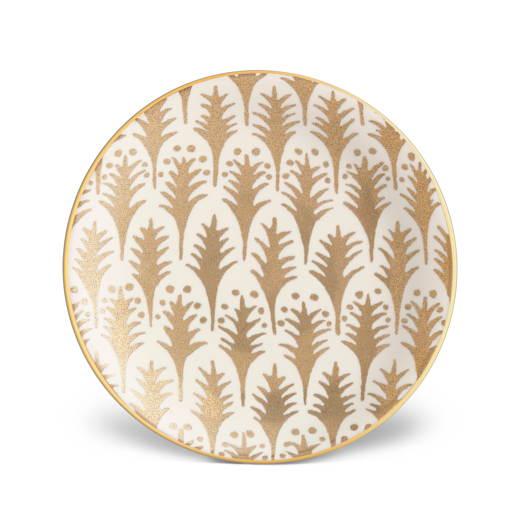 L'Objet Fortuny Piumette White Canape Plates, Set of 4