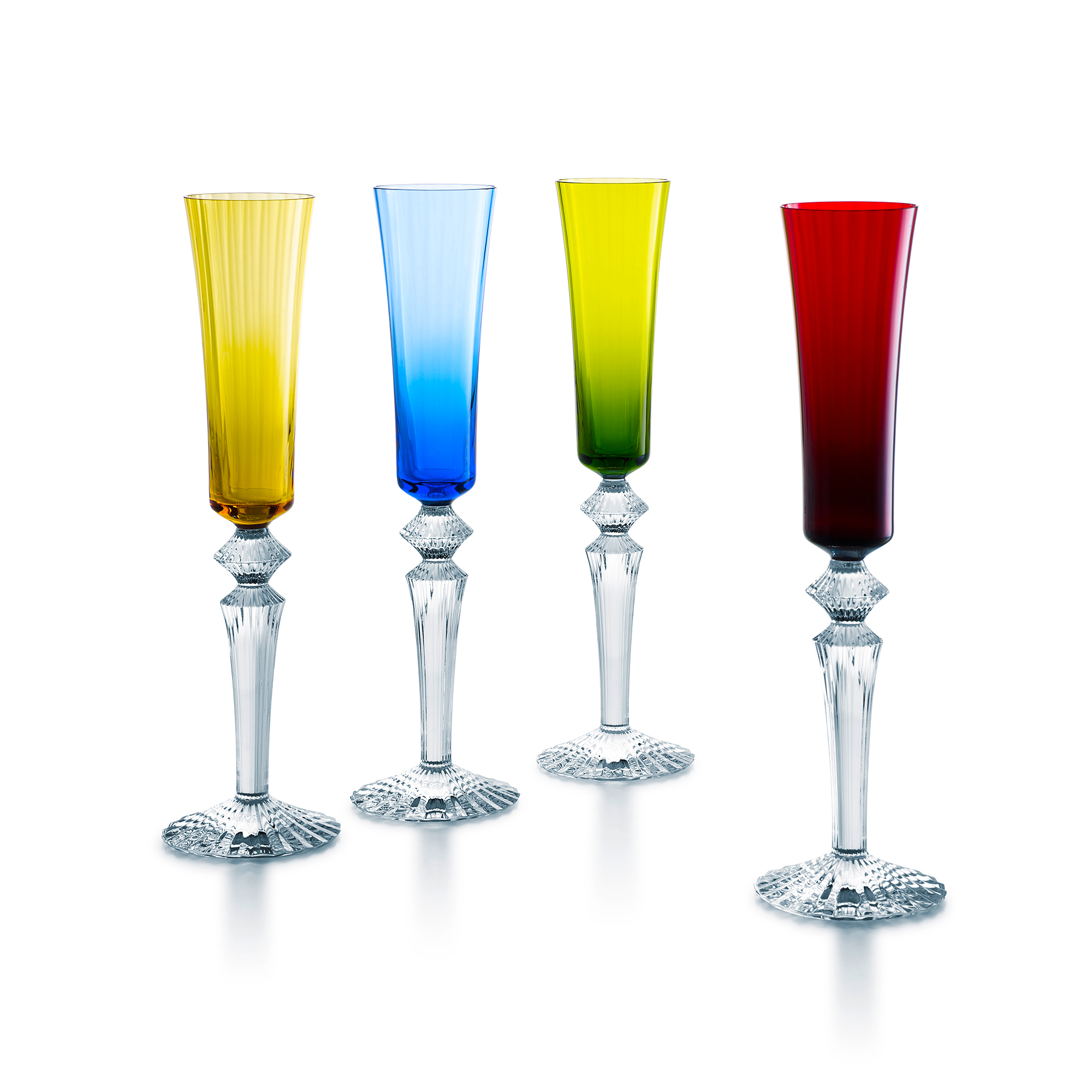 Baccarat Mille Nuits Color Flutes, Set of 4