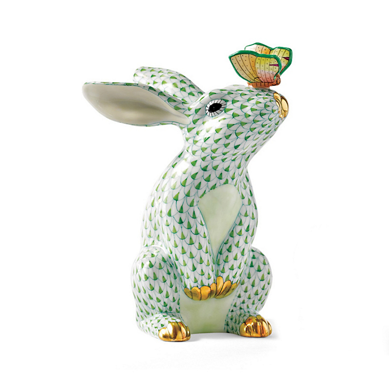 Herend Key Lime Bunny With Butterfly