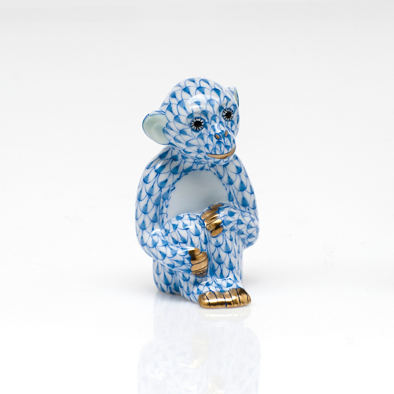 Herend Little Monkey, Blue