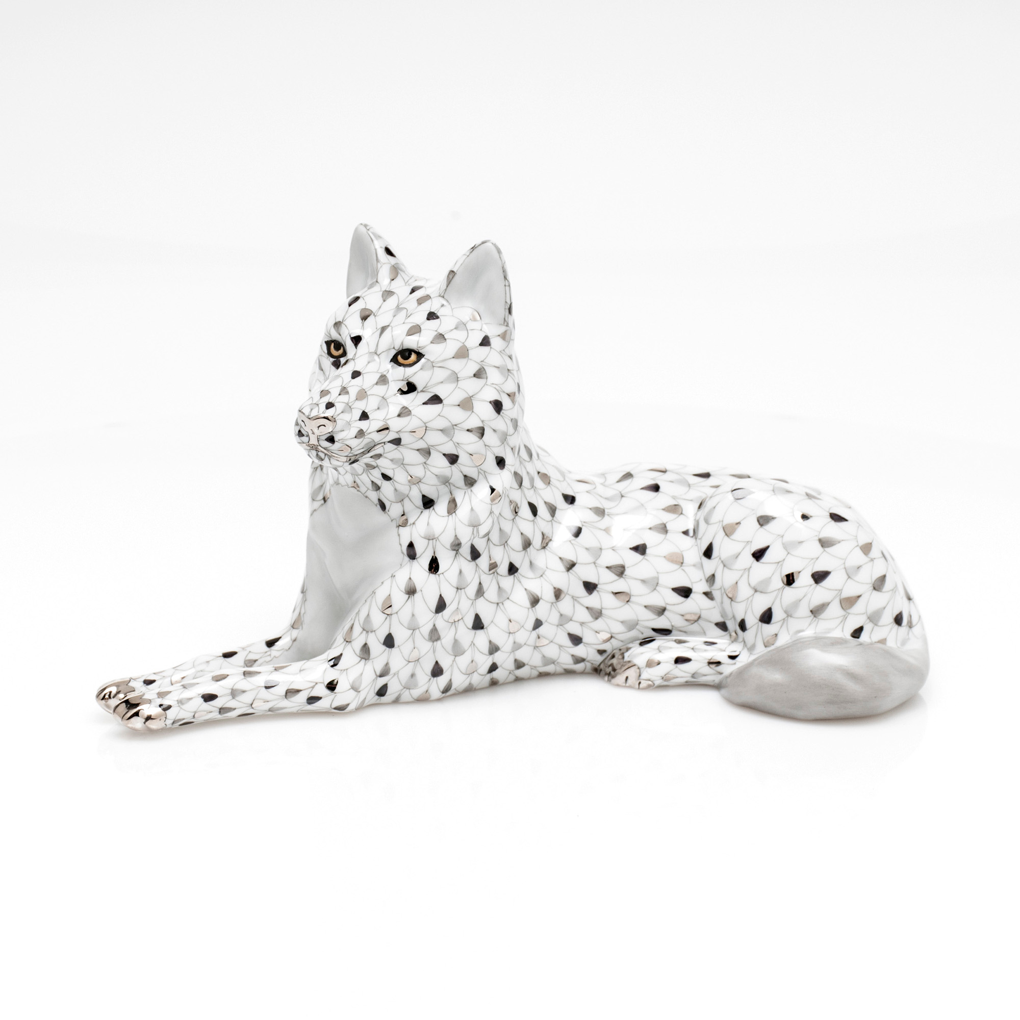 Herend Lying Wolf, White