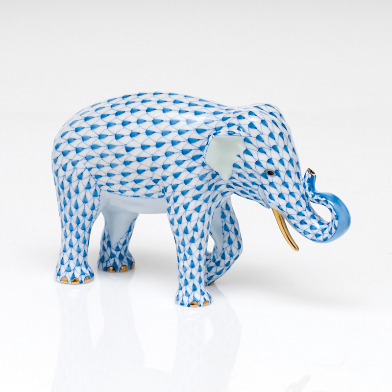 Herend Asian Elephant, Blue