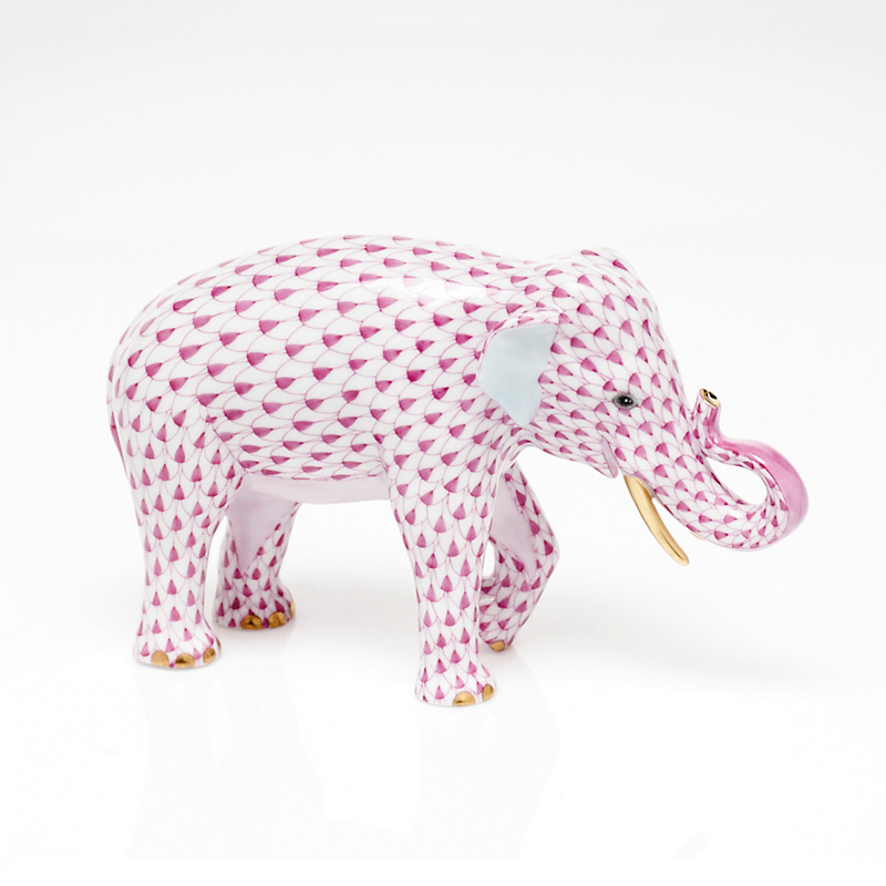 Herend Asian Elephant, Raspberry