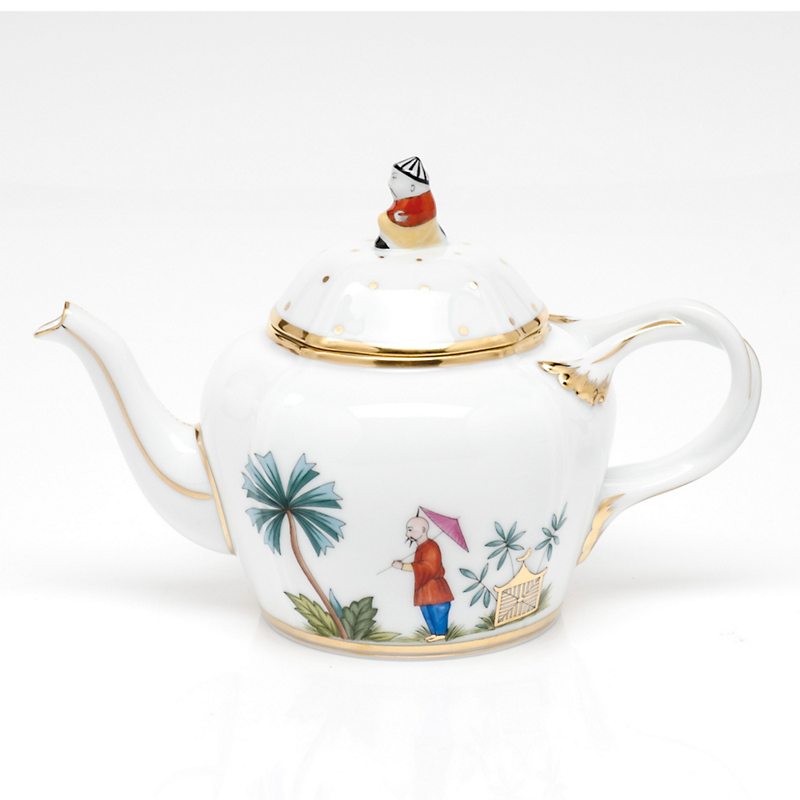 Herend Asian Garden Teapot, White