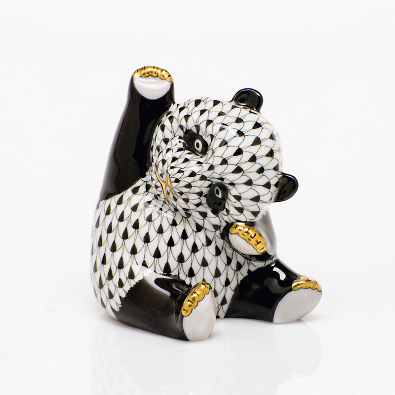 Herend Playful Panda, Black
