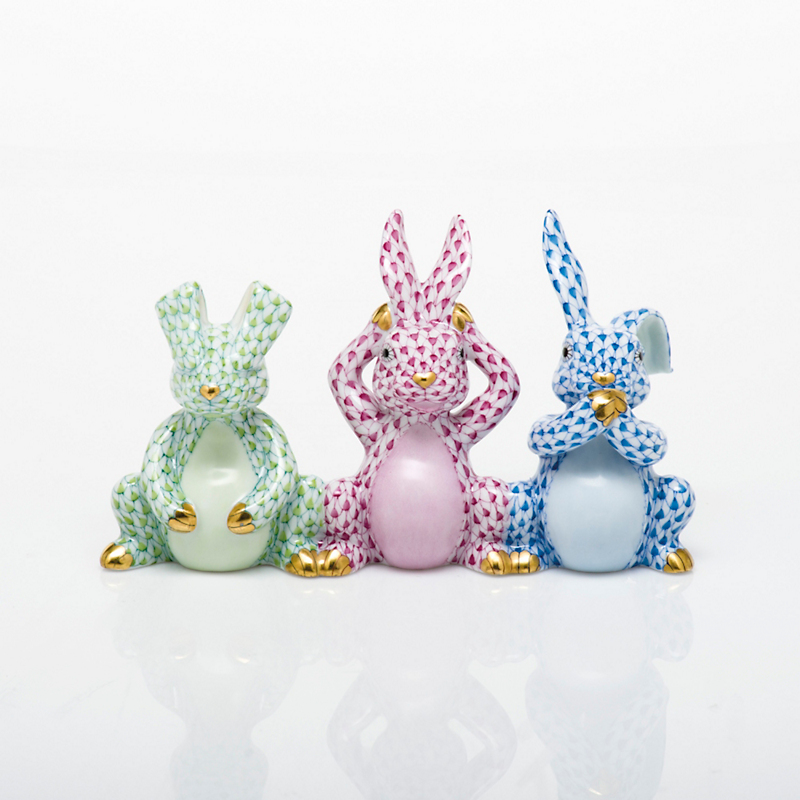 Herend Three Wise Bunnies, Multicolor