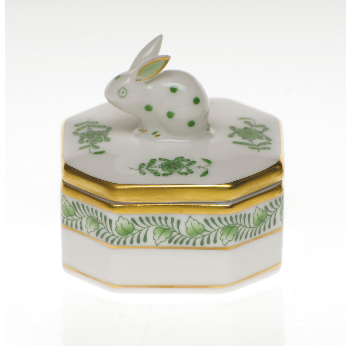 Herend Box with Bunny, White