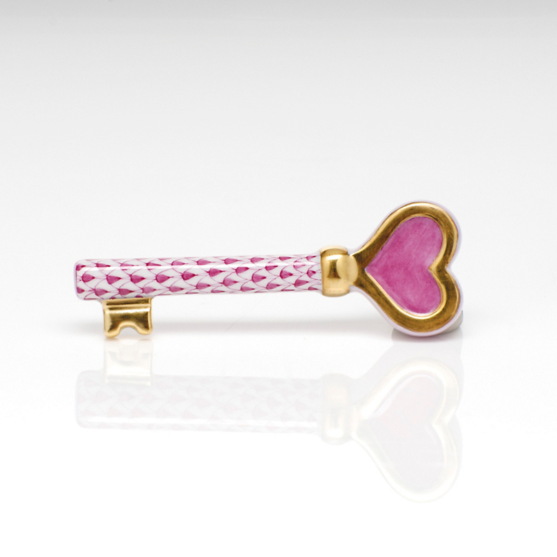 Herend Key with Heart, Pink