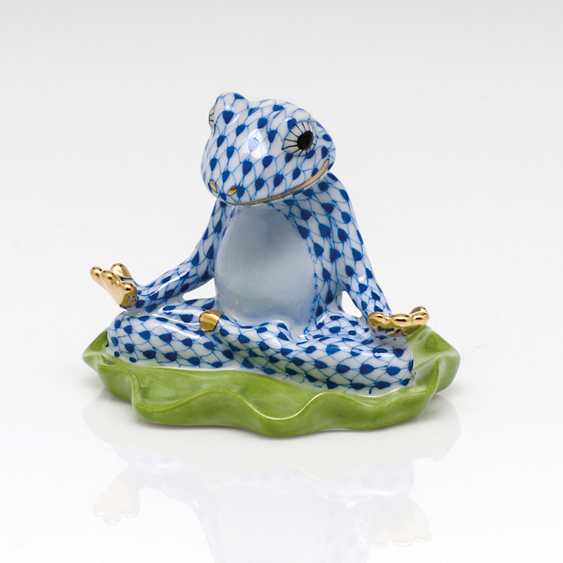 Herend Yoga Frog, Sapphire
