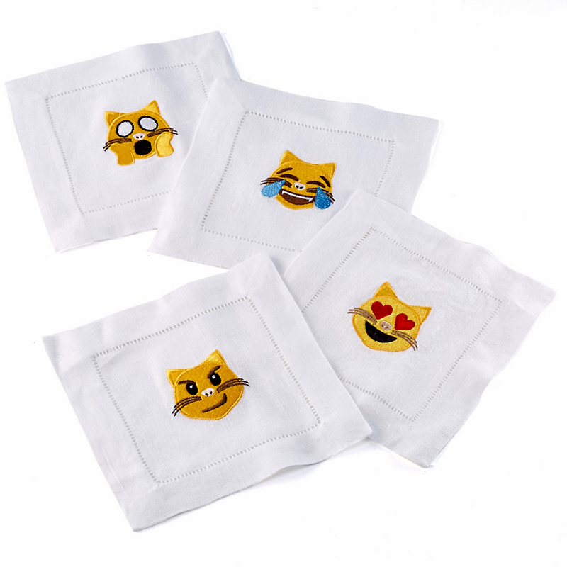 'Cats' Emoji Cocktail Napkins, Set of 4
