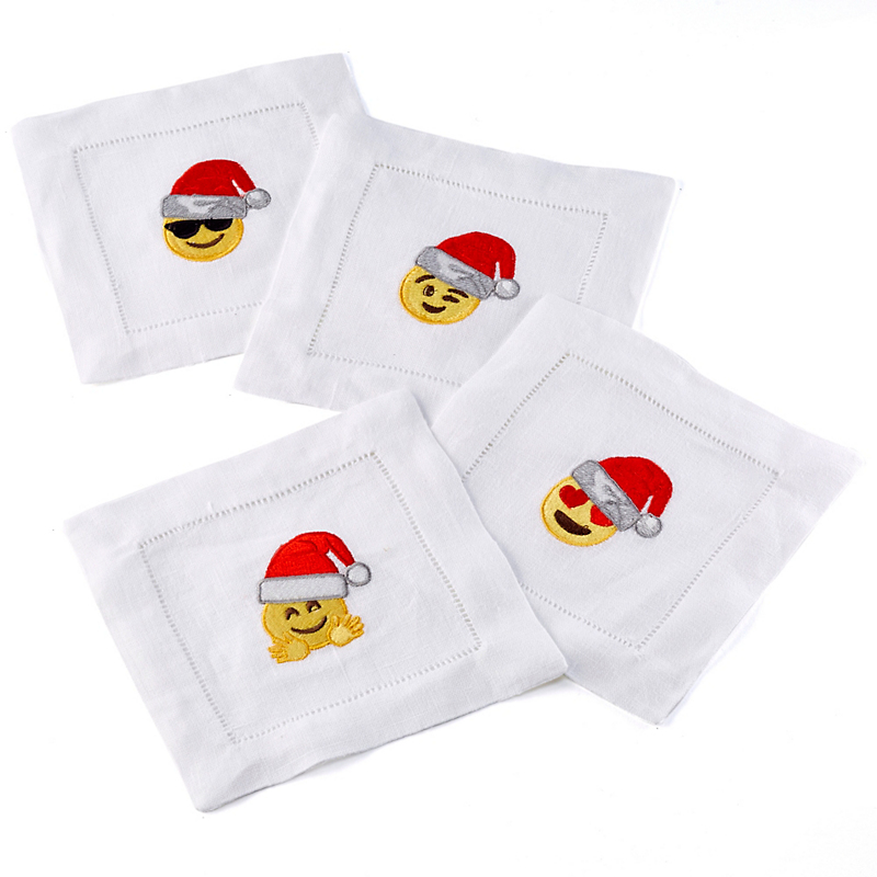 'Santa' Emoji Cocktail Napkins, Set of 4
