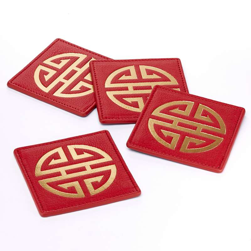 Gump's Shou Leather Coasters, Set of 4