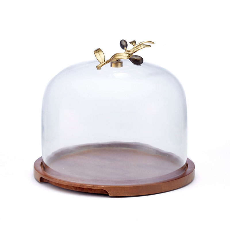 Michael Aram Gold Olive Branch Glass Dome With Wood Base