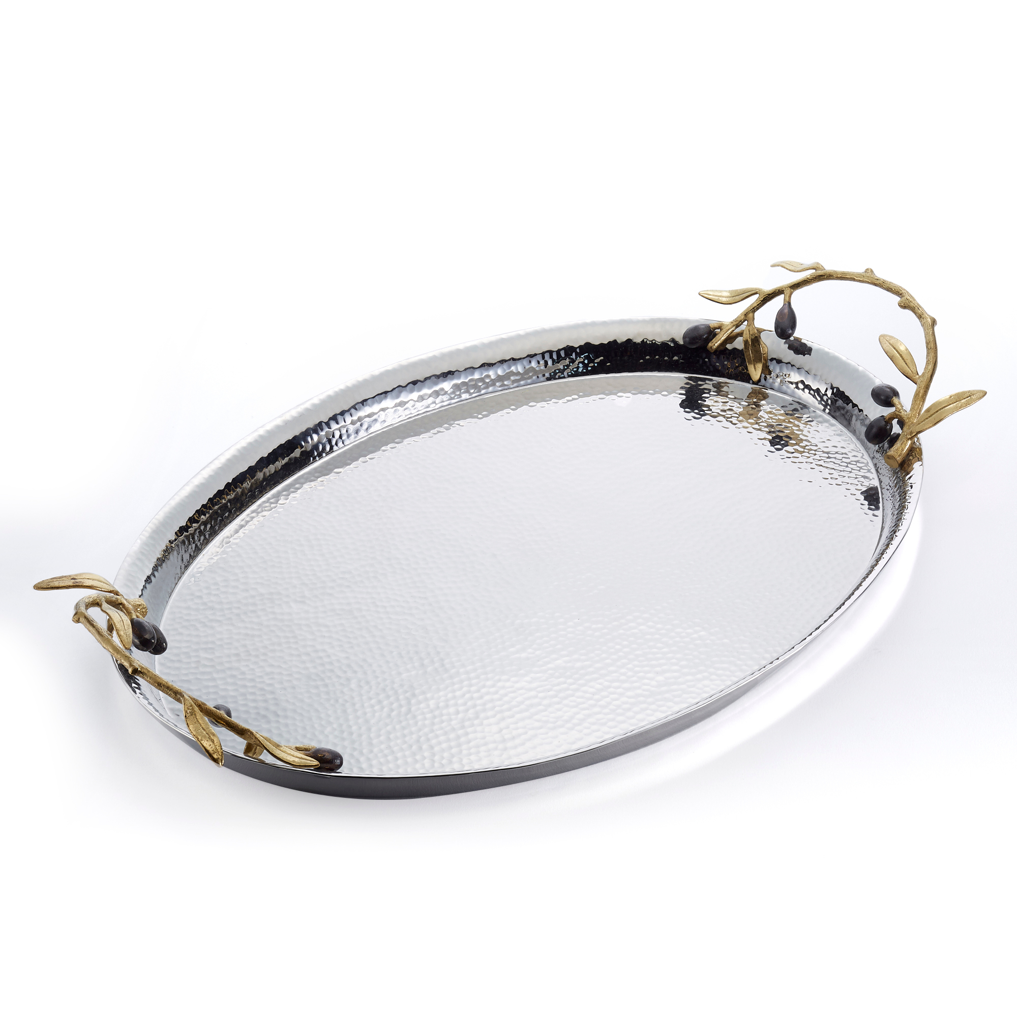 Michael Aram Gold Olive Branch Oval Serving Tray