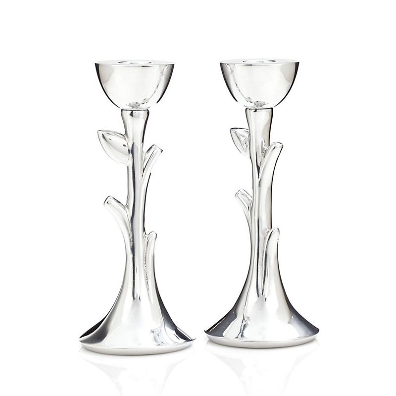 Nambe Tree of Life Sabbath Candlesticks, Set of 2
