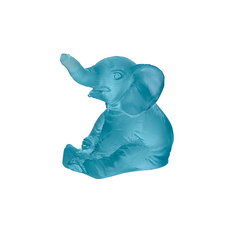 Daum Crystal Mini Elephant, Blue