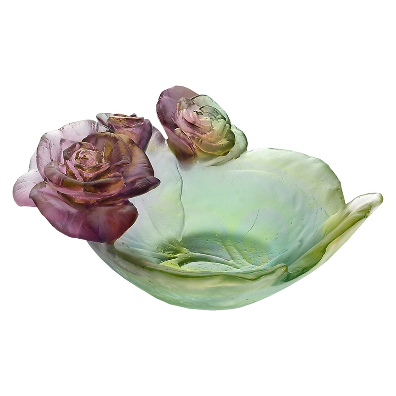 Daum Crystal Rose Passion Bowl, Pink/Green Small