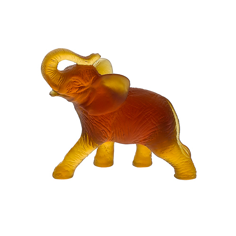 Daum Crystal Mini Elephant, Amber
