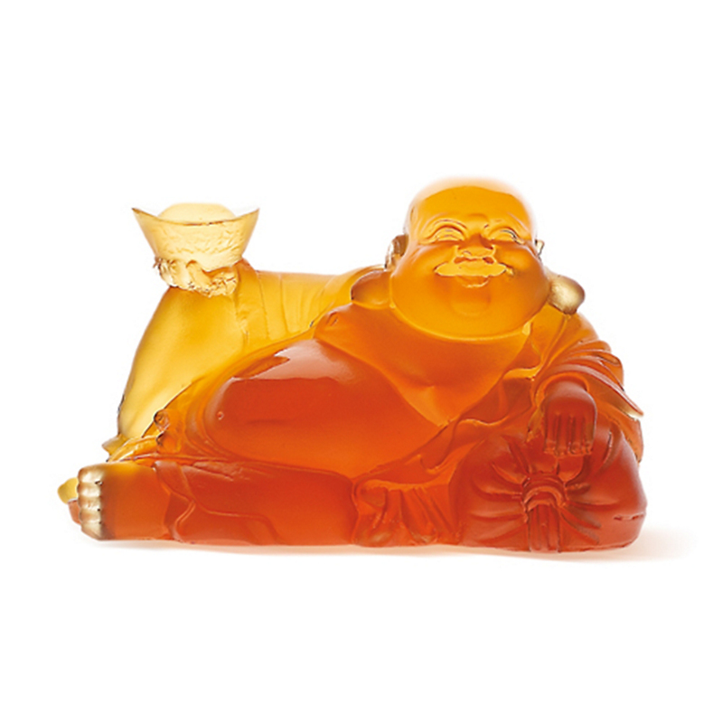 Daum Crystal Happy Buddha, Amber