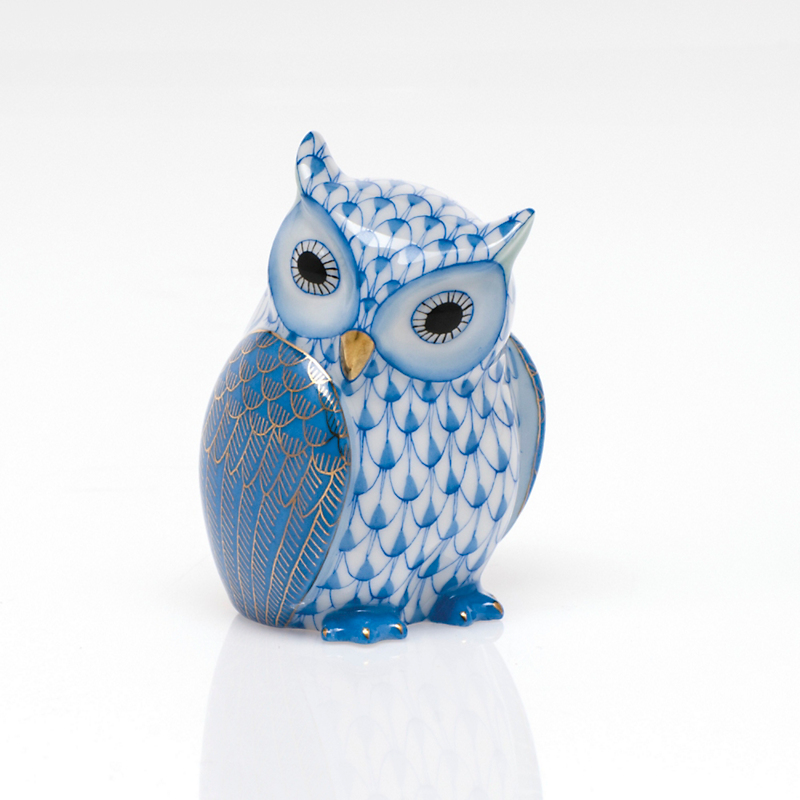 Herend Mother Owl, Blue