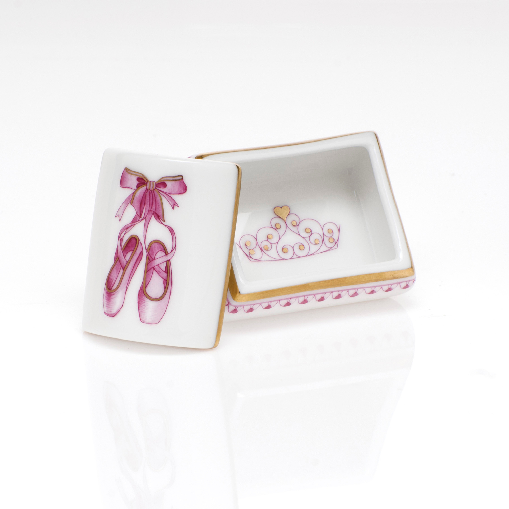 Herend Ballerina Box, Raspberry
