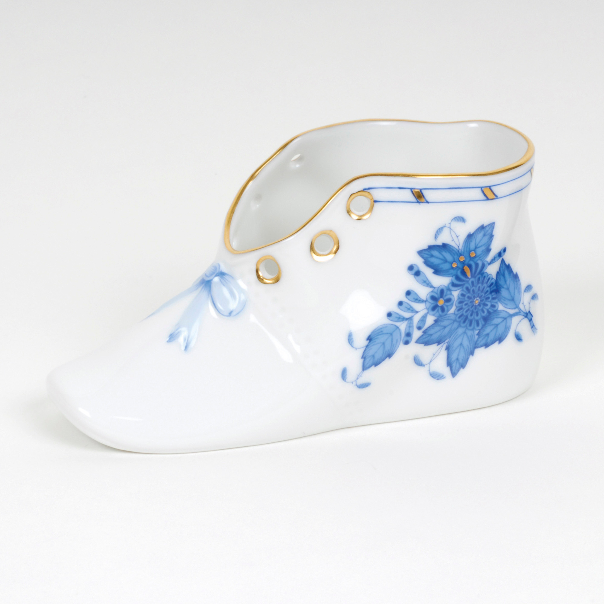 Herend Baby Shoe, Blue